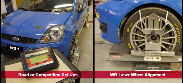 Laser Wheel Alignment and 4 wheel multipoint setup for Road or Racing